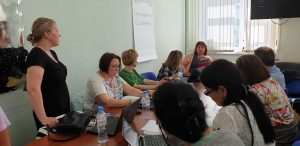 Project group hearing the external Quality evaluator Dr Dina Williams from Manchester University